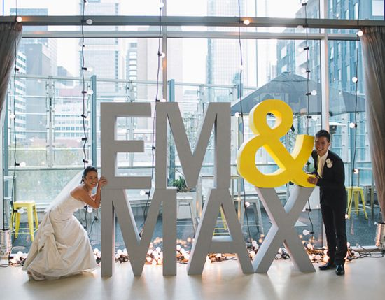 large cut out letters modern bride wedding signage
