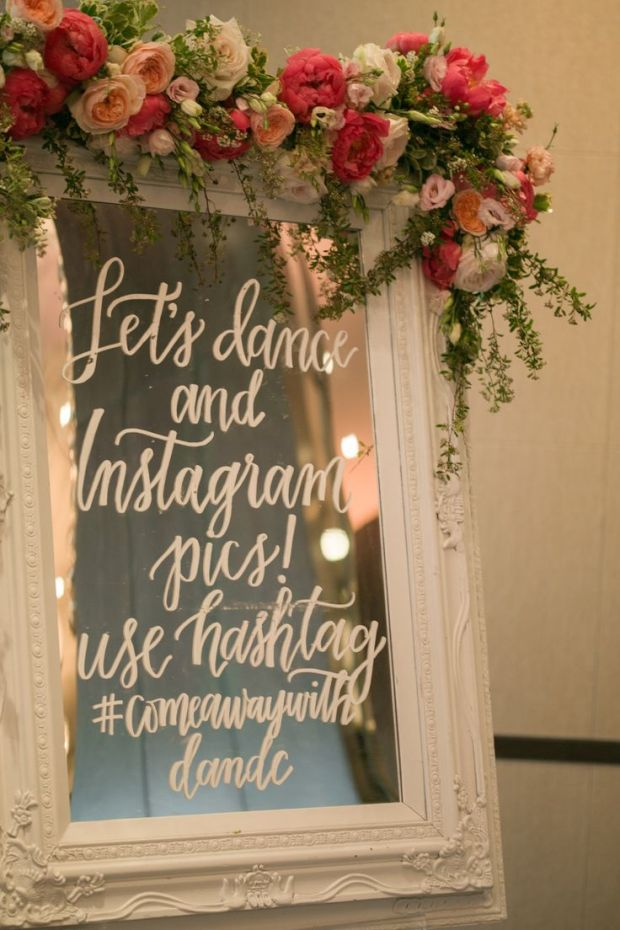 large mirror wedding signage modern bride